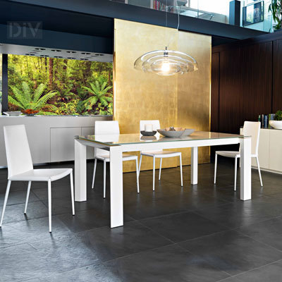 Omnia glass extendable dining table dining tables dining for Calligaris omnia glass